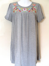 A 1181 - Grey embroidery dress, fits size S,M,L