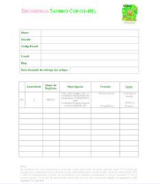 formulário de encomenda