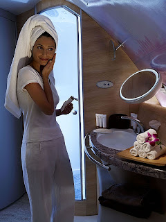 Taking a shower on board an Emirates A380