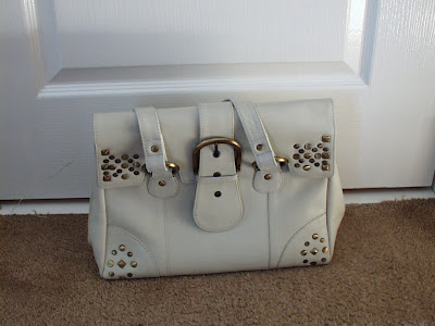 cream leather handbag clothes swap