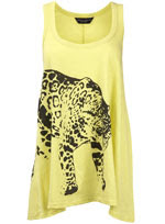 yellow drape cheetah t shirt