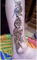 henna pattern for the leg