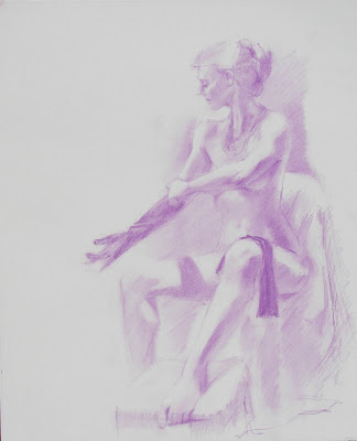 New Figure Drawing in Pastel...Nude Model Removing Long Gloves