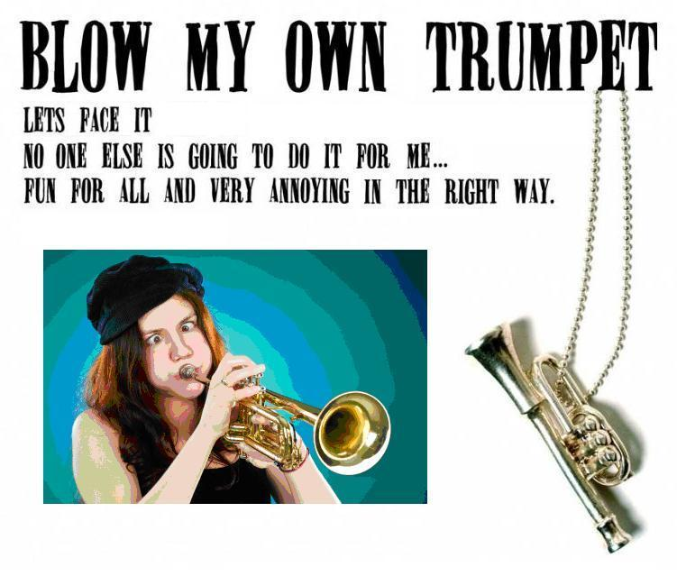Image result for blowing his own trumpet