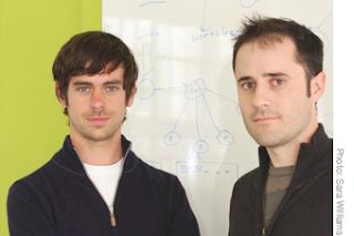 Jack Dorsey (слева) и Evan Williams - два руководителя Twitter, Inc. меняются местами.