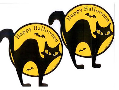 Free Cat and Bats Halloween Wallpaper