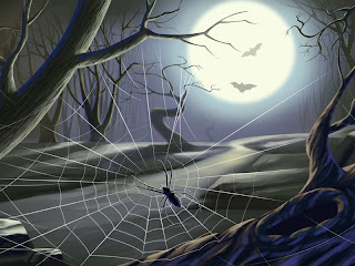 scary halloween spider web