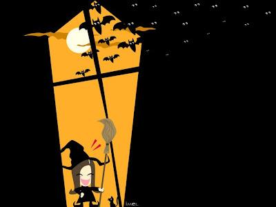 free halloween witch bats