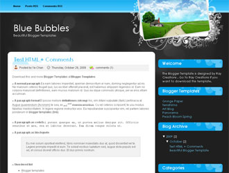 Blue Bubbles Blogger Template