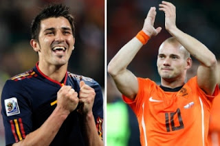 World Cup 2010 top scorers David Villa and Wesley Sneijder