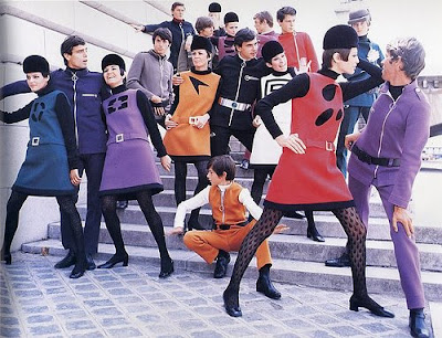 1960fashion   on Late 1960 S His Stark Short Tunics And His Use Of Vinyl Helmets And