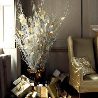 elegant gilded twigs and presents