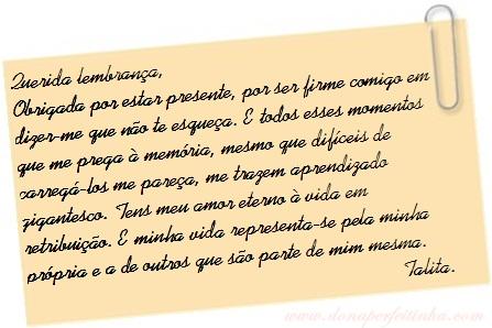 Querida lembrança...