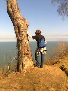 Loreen Niewenhuis contemplates Lake Michigan