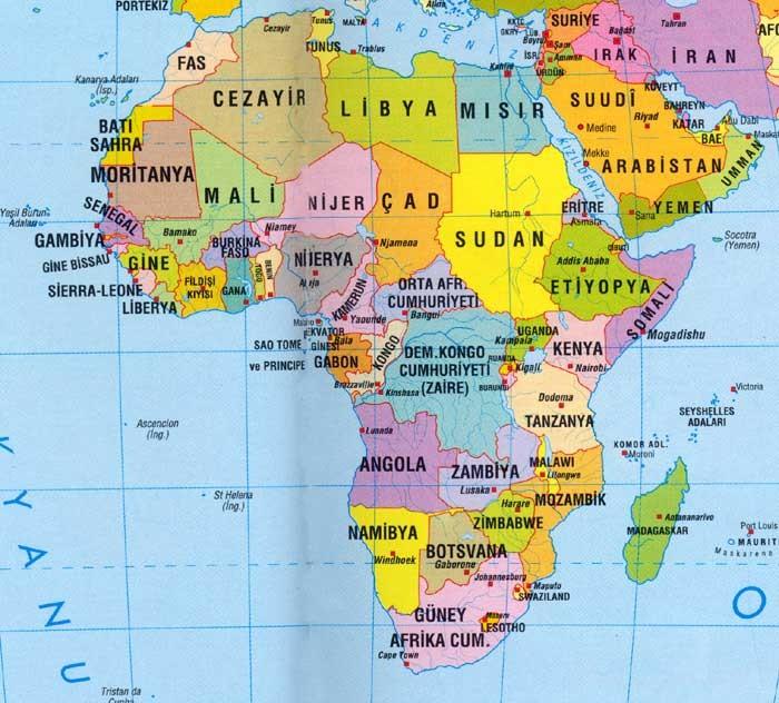 Aşağıdaki haritalarda afrika uelkelerinin yerlerini tuerkce ve