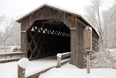 winter Covered Bridge in snow Cedarburg Wisconsin by Selep Imaging