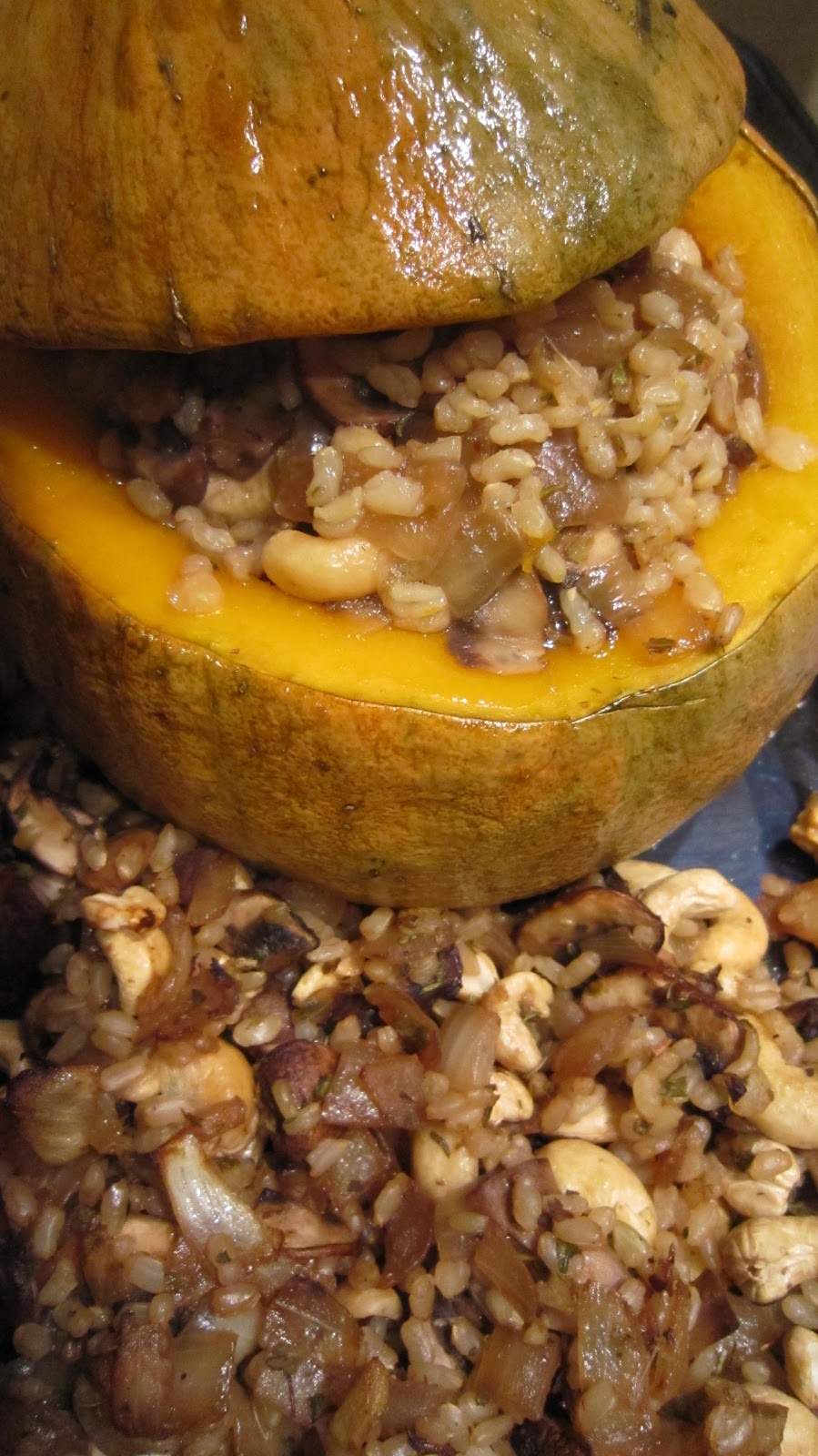 ... Squared: Baked Squash Stuffed with Brown Rice, Cashews, and Mushrooms