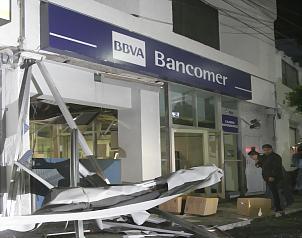 El banco destruido