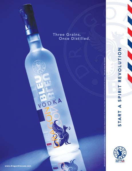 Michael Segal: Full page magazine ad for Dragon Bleu Vodka