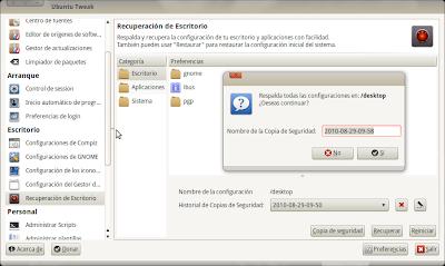 Ubuntu Tweak - Recuperación de Escritorio