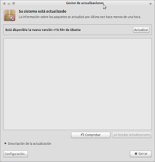 Ubuntu 10.04 a Ubuntu 10.10 - Gestor de actualizaciones