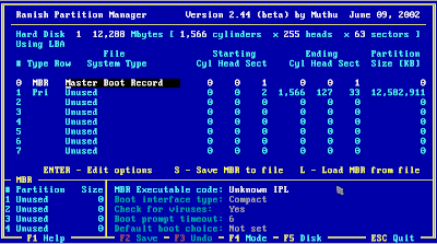 Hiren's Boot CD 11.1 - Ranish Partition Manager