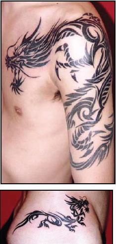 tribal dragon tattoos design