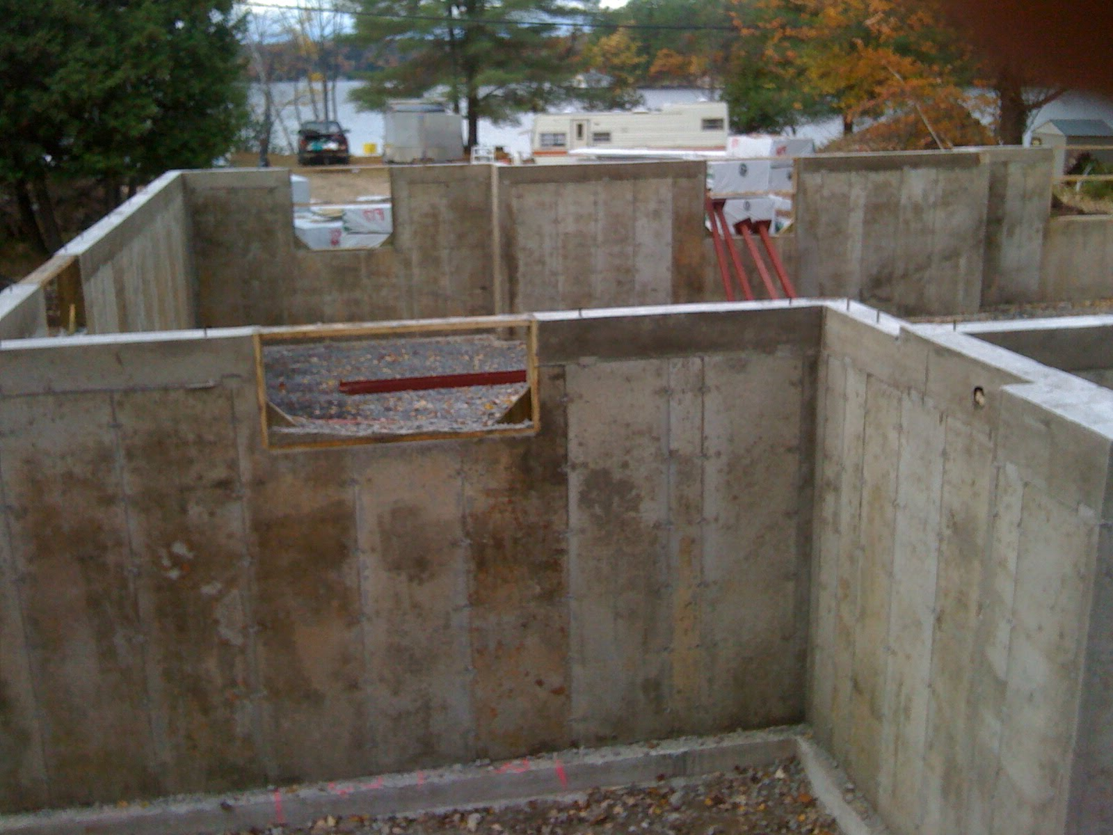 Tiger 39 s den concrete basement poured forms removed for Poured concrete basement walls