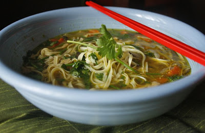 ... Vegetarian: Vegetable & Rice Noodle Soup in a Ginger & Garlic Broth