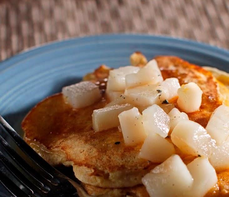 ... : Polenta Pancakes w/ Pear + Clementine, & Vanilla Bean Compote