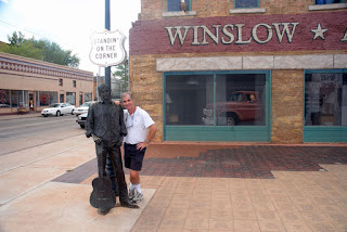 Gene Hanson with The Eagles 'Take It Easy' tribute in Winslow, Arizona