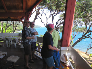 View from Eric's house on Port Royal in Roatan, with Eric, Capt. John, John and Jan