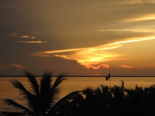 Sunset from our deck in Isla Mujeres