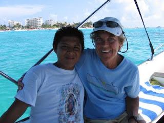 Nan and Manolo enjoying the boat trip
