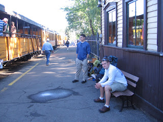 Rich and Miles waiting for the 9:00 train from Durango to Needleton