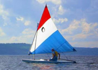 Not my AMF Alcort Minifish sailboat, just one I found on the Internet that looks exactly like mine