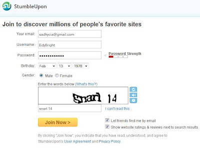 how to create StumbleUpon account