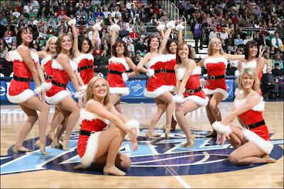 NBA dancers Christmas Santa helpers