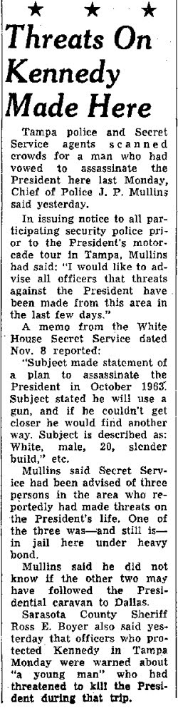 More 11/18/63 threats: THIS is one of the reasons the agents were on the rear of the car