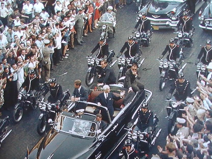 Blaine & Grant on the rear of JFK's limo 7/2/63 Rome