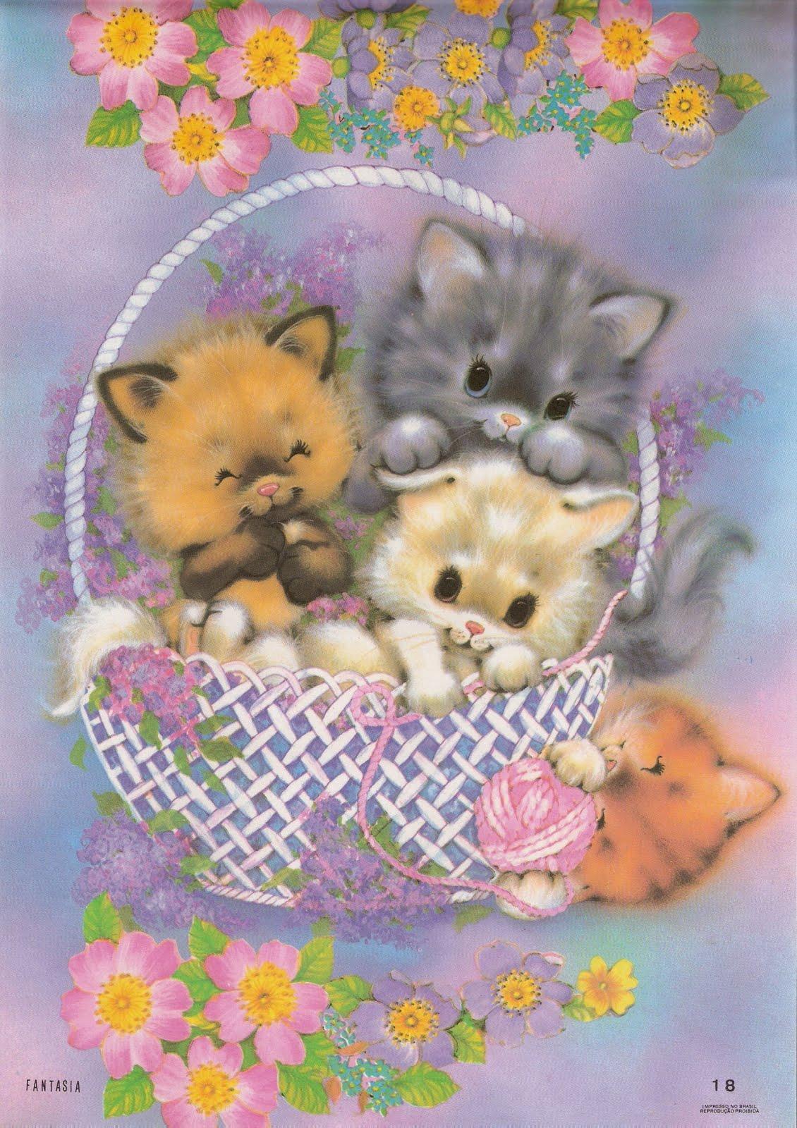 Открытки котята и дети