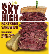 Suji's Sky High Pastrami Sandwiches