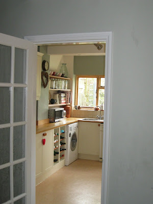 Modern Country Kitchen Farrow and Ball Blue Gray Earthborn Gregory's Den