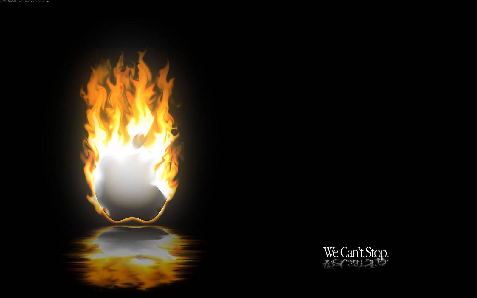 burning apple logo wallpaper