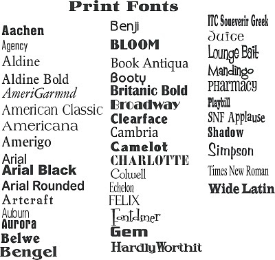 Lively image throughout font printable