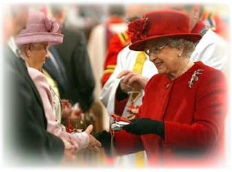 The Queen giving Maundy Money