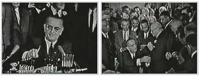 President Johnson signs 1964 Civil Rights Bill