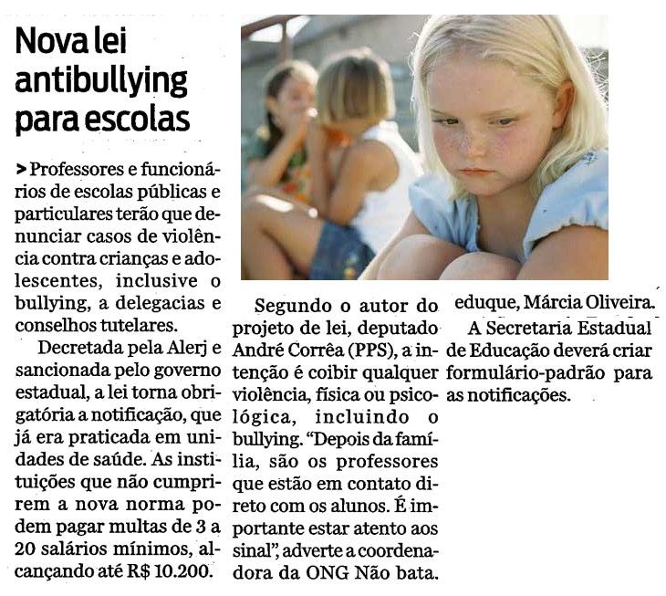 diário do voluntário: professores contra o bullying