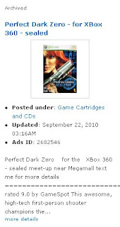 Perfect Dark Zero for the XBox 360 advertisement at Sulit.com.ph