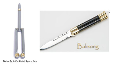 Get My Interest Butterfly Knife Styled Space Pen And
